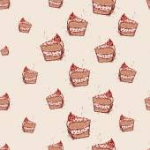 Piece of chocolate cake Hand drawn sketch on pink background.seamless pattern vector — Stock vektor