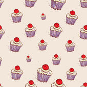 Cupcake with cherries and cream Hand drawn sketch on pink background. seamless pattern vector — Stock Vector