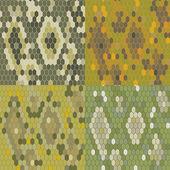 Set 4 snake skin texture. Seamless pattern python. Vector — Stock Vector