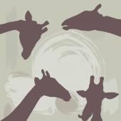 Giraffes silhouette on grunge background. vector — Stock Vector