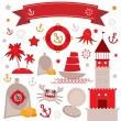 Vintage scrap nautical set cute sea objects. Red, gray, yellow. Vector — Stock Vector #62248171