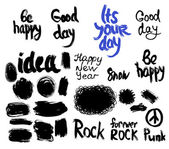 Set of words and labels freehand drawing, grunge sketch for your design. vector — Stock Vector