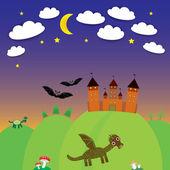 Landscape with castle wizard, Cartoon Dragon, bats. Night. vector — Stock Vector