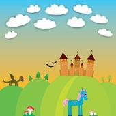 Card. landscape with castle wizard, Cartoon Dragon, Unicorn, bats. vector — Stock Vector