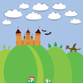 Landscape with castle wizard, Cartoon Dragon, bats and blue sky with clouds. vector — Stock Vector