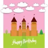 Card With Castle princess fairytale landscape. Happy birthday card. vector — Stock Vector