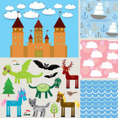 Set 3 seamless background. Castle,  Fabulous animals. vector — Stock Vector