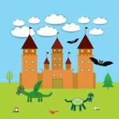 Card With Castle, fairytale landscape with dragons and bats. vector — Stock Vector