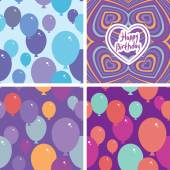Set 3 Seamless pattern with balloons and happy birthday card. Purple, pink, blue, orange background. vector — Stock Vector