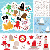 Vintage scrap nautical card and seamless pattern with sea animals, boats pirates. cute sea objects collection. Vector — Stock Vector
