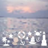 Set sea icons on seascape background. Vector — Stock Vector