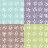 Set 4 floral seamless pattern. vector — Stock Vector