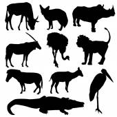 Set of African animals. Black silhouette on white background. vector — Stock Vector
