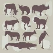 Set of African animals. Silhouette. vector — Stock Vector