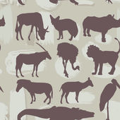 African animals seamless pattern. Silhouette. vector — Stock Vector