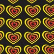 Red, yellow striped heart on black background Valentine's day, wedding seamless pattern. vector — Stock Vector #62516931