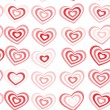 Red striped heart on white background Valentine's day, wedding seamless pattern. vector — Stock Vector #62516959