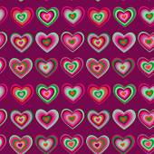 Striped heart on purple background Valentine's day, wedding seamless pattern vector — Stock Vector