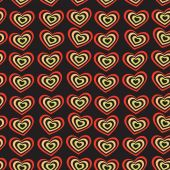 Red heart on black background Valentine's day, wedding seamless pattern. vector — Vetor de Stock