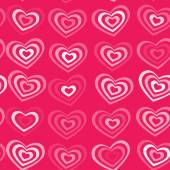 White striped heart on pink background Valentine's day, wedding seamless pattern. vector — Stock Vector