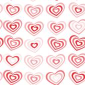 Red striped heart on white background Valentine's day, wedding seamless pattern. vector — Vetor de Stock