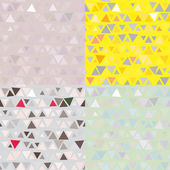 Set of 4 Seamless pattern of triangles. Vector — Stock Vector