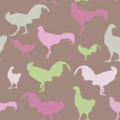 Seamless pattern with chickens and roosters, green, lilac, vector — Stock Vector