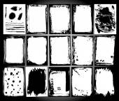 Abstract grunge frame set. Black and white Background template vector  — Vector de stock