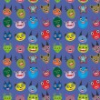 Cute cartoon Monsters Set on blue background. seamless pattern vector — Stock Vector #66792325