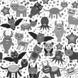 Cute cartoon Monsters Set. seamless pattern on white background. Vector — Stock Vector #66792739