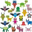 Cute cartoon Monsters Set. Big collection on white background. Vector — Stock Vector #66792741