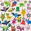 Cute cartoon Monsters seamless pattern  white background. Vector — Stock Vector #66793033