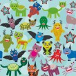Cute cartoon Monsters seamless pattern on blue background. Vector — Stock Vector #66793035