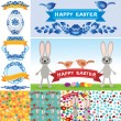 Happy Easter set. Rabbit, eggs, flowers, ribbons, seamless pattern. Collection element retro vintage style. vector — Stock Vector #66793373