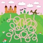 Fairy-tale castle, dragon, bats, forest labyrinth game for Preschool Children. Vector — Stok Vektör #66794245
