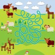 Farm animals - sheep, deer, cow, labyrinth game for Preschool Children. Vector — Stock Vector #66794775