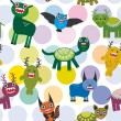 Cute cartoon Monsters Set.  seamless pattern on white background. Vector  — Stock Vector #66797707