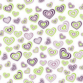 Seamless pattern heart green, purple on white background. wedding marriage ceremony Valentines Day. Vector — Stock Vector