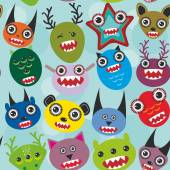 Cute cartoon muzzle Monsters seamless pattern on blue background. Vector — Stock Vector