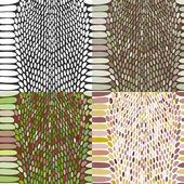 Snake skin texture set. Seamless pattern black on white background. Vector — Stock Vector