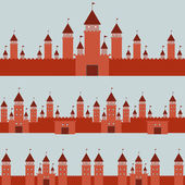 Seamless pattern  With Castle princess fairytale landscape on gray background. Vector — ストックベクタ