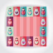 Flat Style card pink, purple, orange, teal Russian dolls matryoshka with heart. Vector — Stock Vector