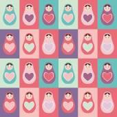 Seamless pattern pink, purple, orange, teal Russian dolls matryoshka background with heart. Vector — Stock Vector