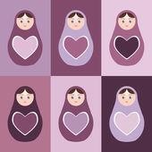 Seamless pattern Russian dolls matryoshka with hearts on purple background. Vector — Stock Vector