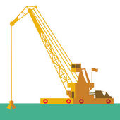 Huge crane barge Industrial ship that digs sand marine dredging digging sea bottom. Vector  — Stock Vector