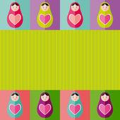 Russian dolls matryoshka with heart.Card design. Vector — Stock Vector