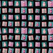 Seamless pattern pink, purple, orange, teal Russian dolls matryoshka on black background. Vector — Stock Vector