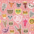 Seamless pattern Funny Animals White heart on pink Polka dot background. Happy birthday. Vector — Stock Vector #71858783