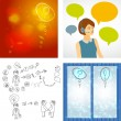Beautiful woman working in a call center with speech bubbles. Hand doodle Business icon set idea design, job search, resume. Question mark icon sketch. Vector — Stock Vector #71856427