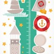 Vintage nautical. sea animals, boats, lighthouse. cute objects collection. Children height meter wall Sticker Vector — Stock Vector #71858881